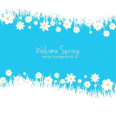 Sfondo blu primavera con posto per il testo vettore