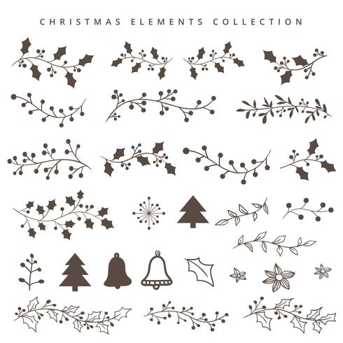 Natale disegnare elementi a mano vettore