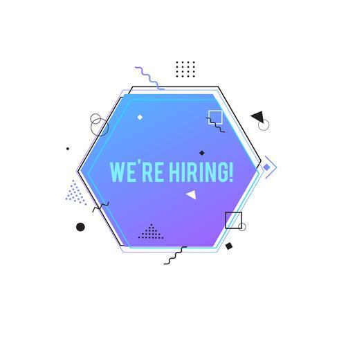 Stiamo assumendo il simbolo, concetto di reclutamento di affari. Banner viola esagono con forme geometriche vettore