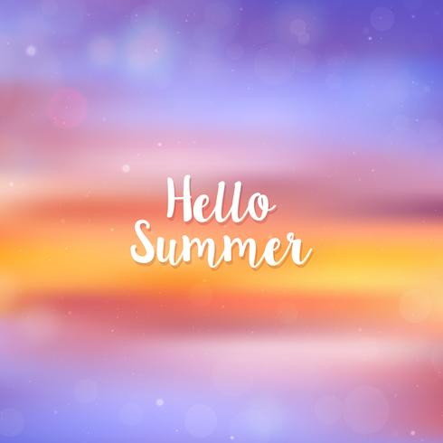 Ciao estate sfondo sfocato, tramonto sulla spiaggia vettore