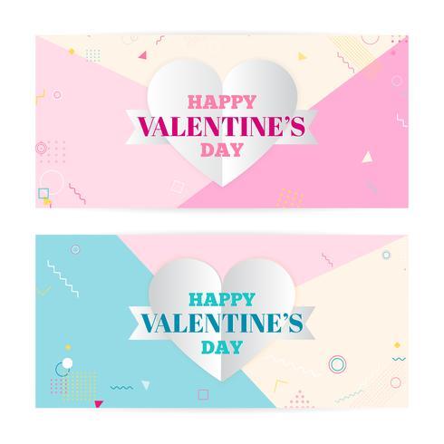 Bandiere di San Valentino, nuvole di arte di carta, cuori. Arte cartacea e stile artigianale. Arte moderna, hipster vettore