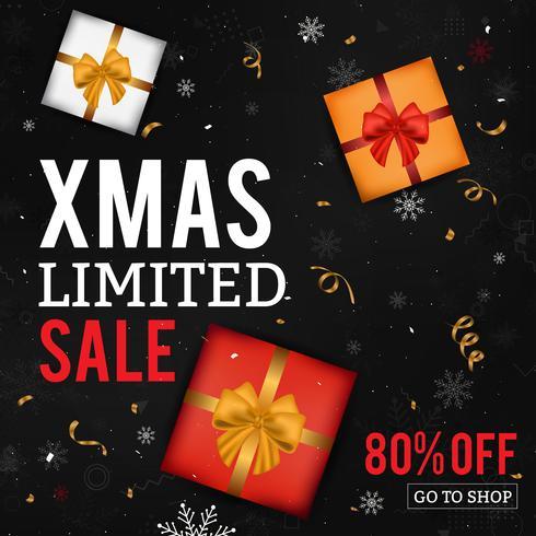 Fondo di vendita di Natale con scatole regalo, fiocchi di neve e coriandoli su sfondo nero. Carta di vendita di Natale. vettore