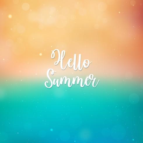 Sfondo sfocato Ciao estate, spiaggia e mare vettore
