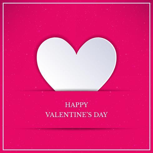 Carta di San Valentino con cuore bianco. Cuore di stile arte carta bianca su sfondo rosa vettore