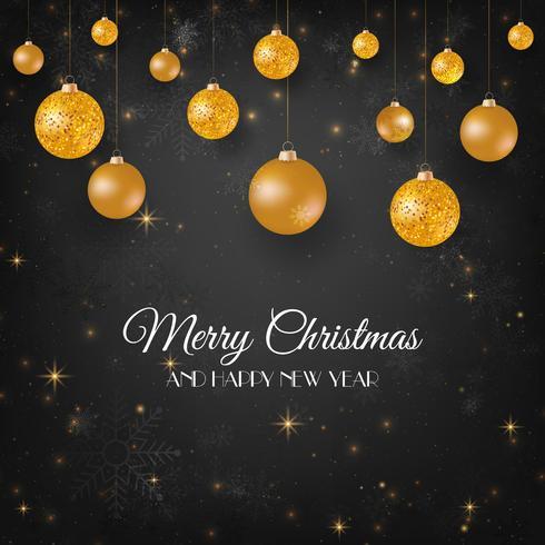 Buon Natale sfondo nero con palle di Natale oro vettore