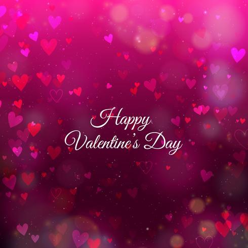 Fondo di San Valentino con cuori e bokeh vettore