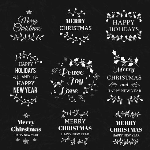 Elementi tipografici di Natale vettore