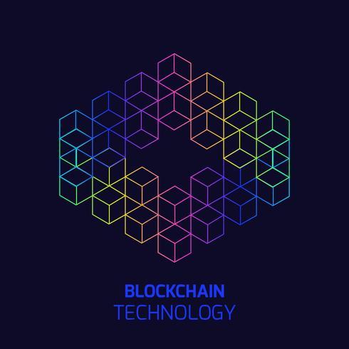 Concetto di tecnologia blockchain. Nodi cubici collegati da catena. Illustrazione vettoriale isometrica del database distribuito per crittografia, denaro virtuale, sicurezza dell'e-business o web sicuro.