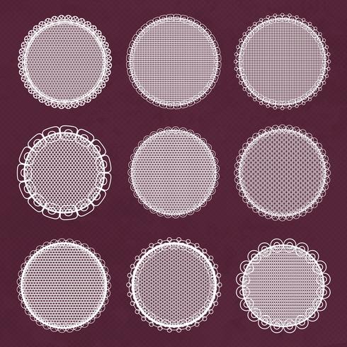 Cornici di pizzo decorativo vettoriale. Modelli di centrini per logo vettore