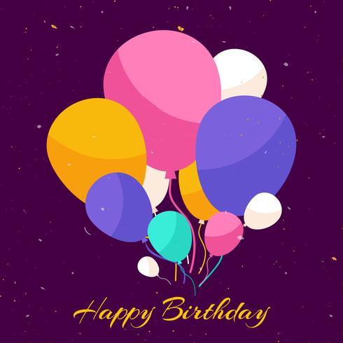 Sfondo di buon compleanno con palloncini e coriandoli vettore