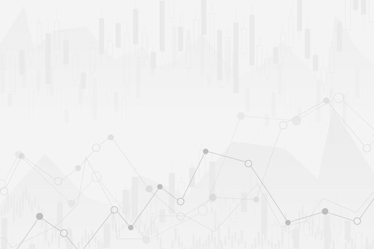 grafico finanziario astratto con grafico linea di tendenza rialzista e numeri nel mercato azionario su sfondo di colore bianco sfumato vettore