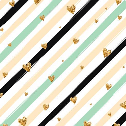 Modello senza cuciture dei coriandoli brillanti del cuore dell'oro su fondo a strisce vettore