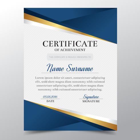 Modello di certificato con lusso dorato e blu elegante design, Diploma design laurea, premio, successo. Illustrazione di vettore. vettore