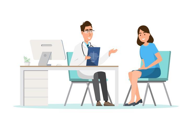 Concetto medico medico con paziente donna in cartone piatto sul corridoio dell'ospedale vettore