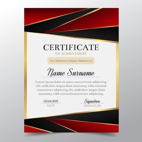 Modello di certificato con lusso elegante design dorato e rosso, Diploma di design diploma, premio, successo. Illustrazione di vettore. vettore