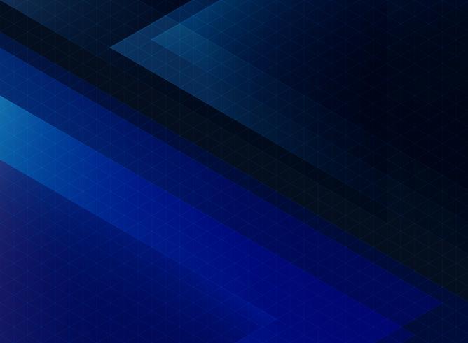 Modello di triangoli blu tecnologia astratta su sfondo scuro. vettore