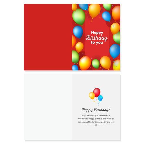 Scheda di buon compleanno rosso con palloncini colorati realistici vettore