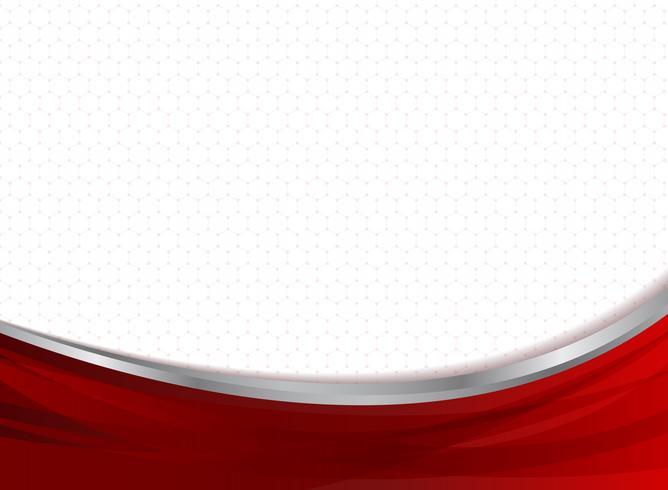 La curva rossa di affari astratti di tecnologia sugli esagoni modella il fondo. vettore