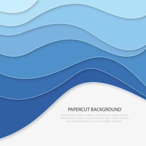 Carta blu tagliata di sfondo. Sfondo di affari vettore