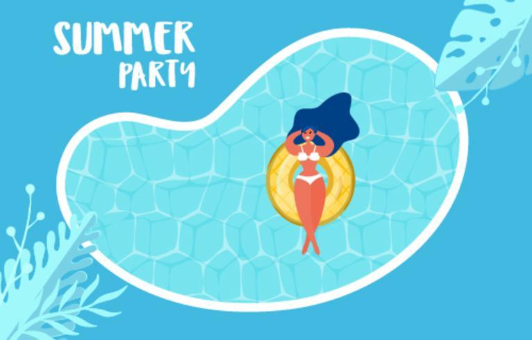 Vista dall'alto della festa in piscina estiva. Progettazione di pubblicità di vendita calda di ora legale con la ragazza sull'anello di gomma nella piscina. vettore