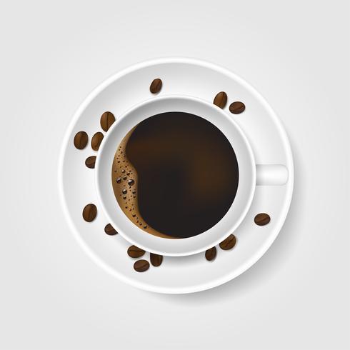 Tazza di caffè bianca realistica con schiuma e chicchi di caffè su priorità bassa bianca. Vista dall'alto. vettore