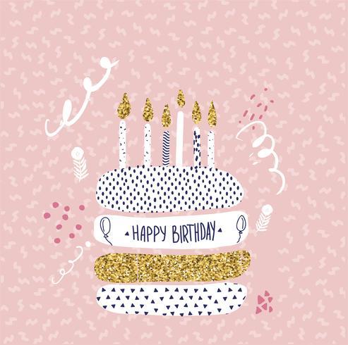auguri di buon compleanno design con torta e candele vettore