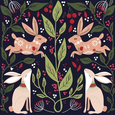 Modello stampabile di arte popolare scandinava con conigli e fiori vettore