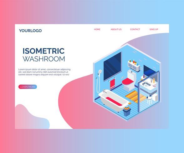 Concetto di interior design di un concetto isometrico del materiale illustrativo della toilette. vettore