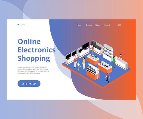 La gente che compra il concetto isometrico del materiale illustrativo delle merci di elettronica online vettore