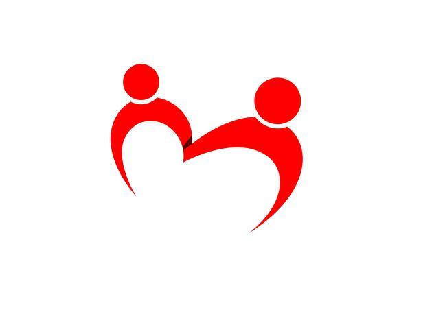Vettore di simboli e di logo di cura del bambino di adozione di amore