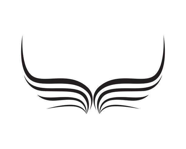 Le ali dell'uccello firmano le icone astratte del modello app vettore