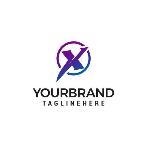 lettera X tech cerchio logo design concetto modello vettoriale