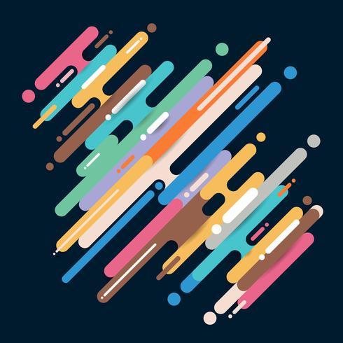 Le linee arrotondate diagonali multicolori astratte allineano la transizione su fondo scuro con lo spazio della copia. Elemento stile mezzetinte a colori vivaci. vettore