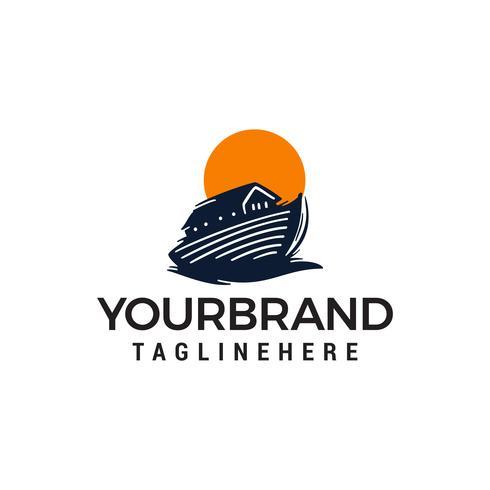 logo della barca di legno, vettore tailandese del modello di concetto di progetto della barca
