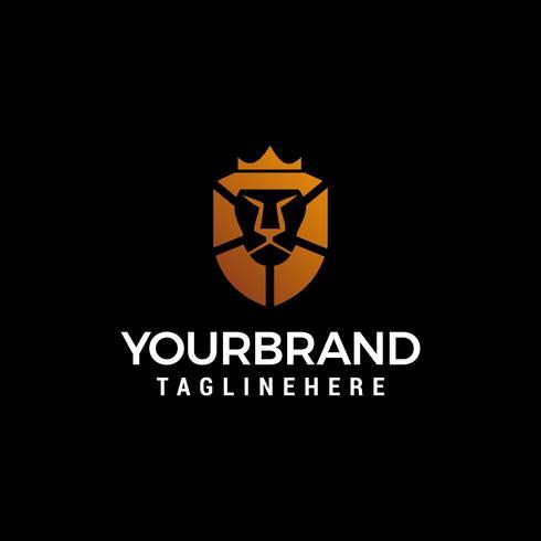 vettore del modello di concetto di progettazione di logo di re leone