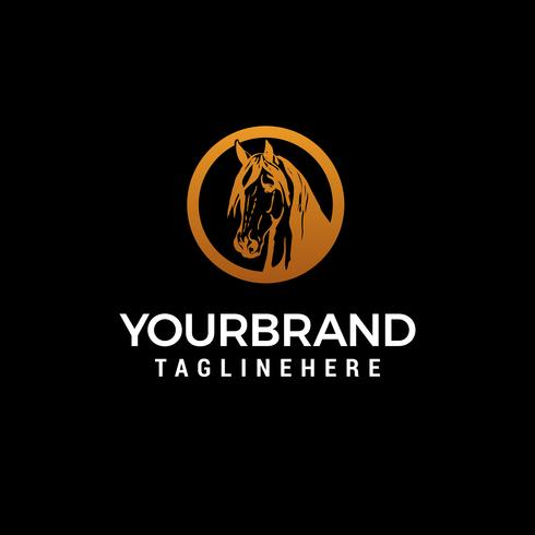vettore del modello di concetto di progettazione di logo di lusso di testa di cavallo