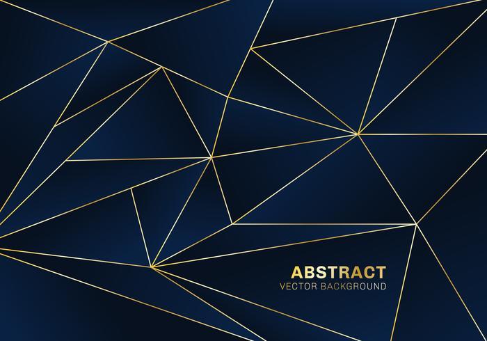 Stile di lusso del modello poligonale astratto su fondo blu con linee dorate vettore