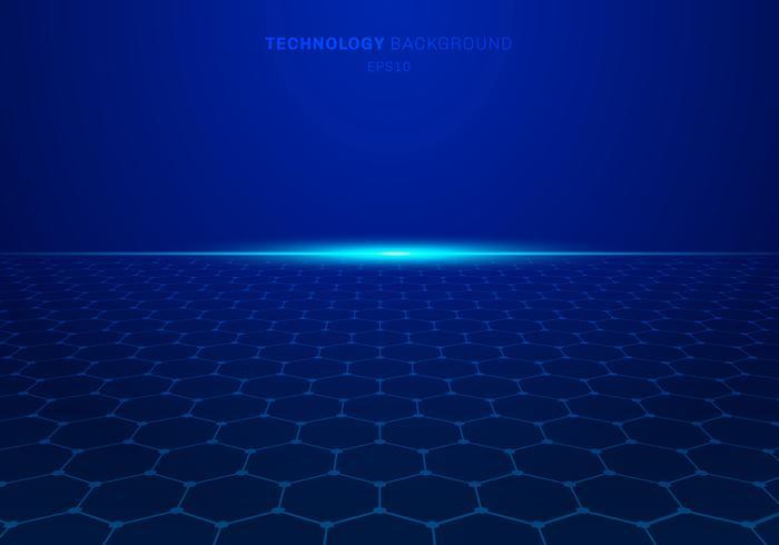 Il modello astratto di esagono di tecnologia blu su fondo con luce esplode. vettore