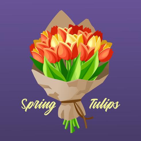 Bouquet di tulipani primaverili vettore