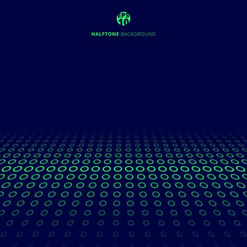 Il confine verde di semitono di tecnologia astratta circonda la prospettiva su fondo blu con lo spazio della copia. vettore