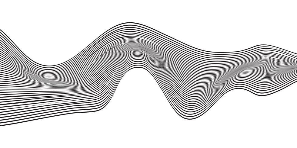 Linea curva nera astratta dell'onda banda orizzontale isolata su fondo bianco. vettore