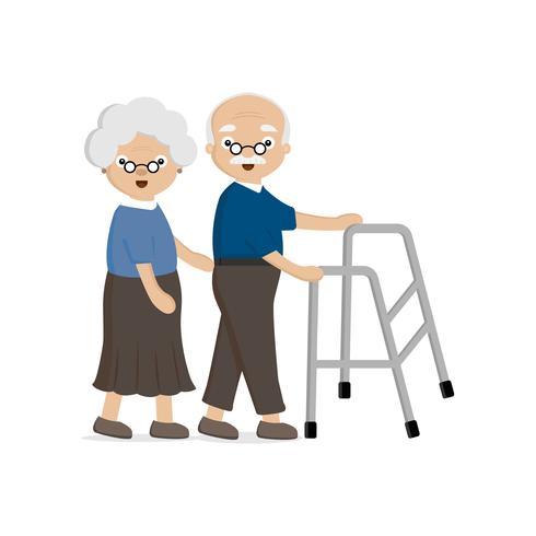 Coppia di anziani anziana. L'anziana aiuta un uomo anziano che cammina con un deambulatore. vettore