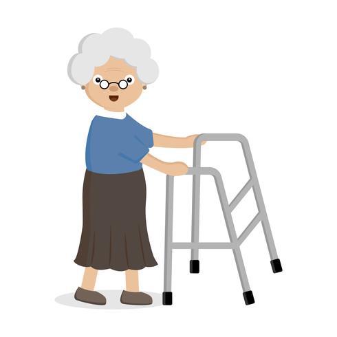 Anziana che usa il camminatore aiutante. vettore
