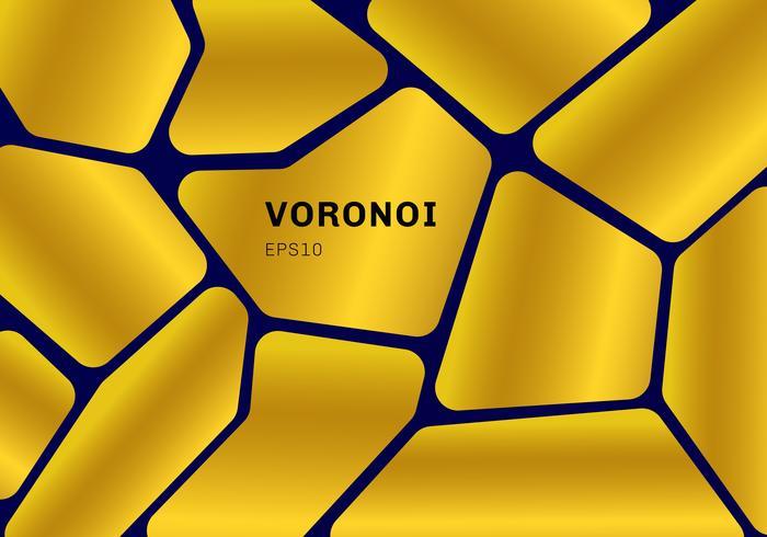 Schema di voronoi dell'oro astratto su fondo blu scuro. Sfondo e carta da parati geometrica del mosaico. vettore