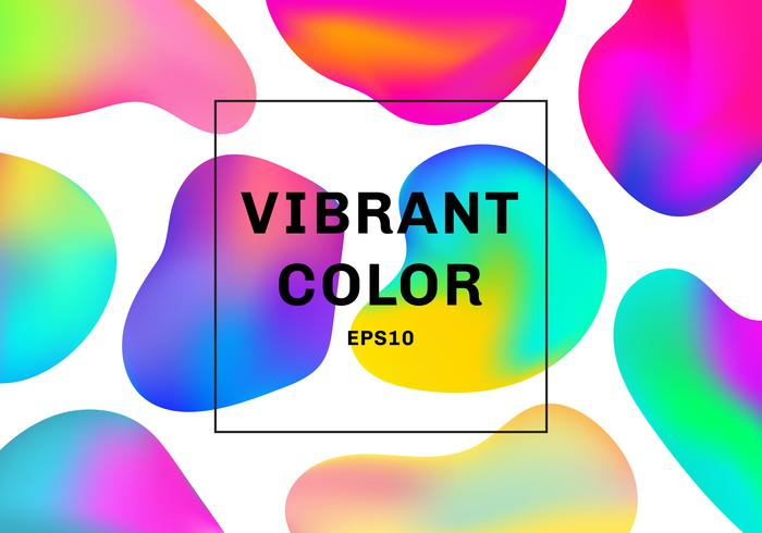 Insieme di elementi di gradiente di forme fluide o liquidi 3D colore sfondo vibrante. vettore