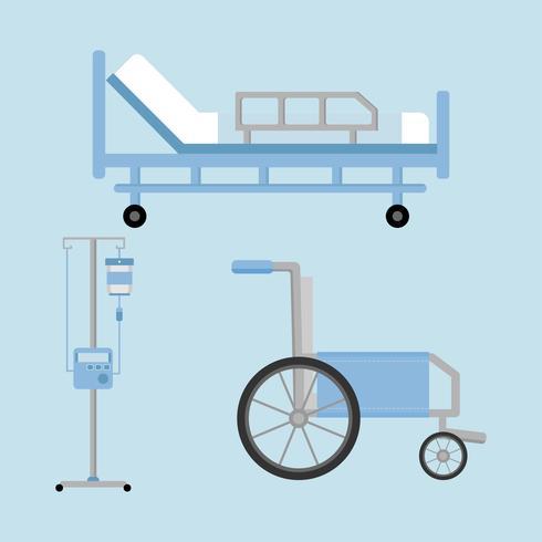 Set di strumenti e attrezzature in un ospedale. vettore