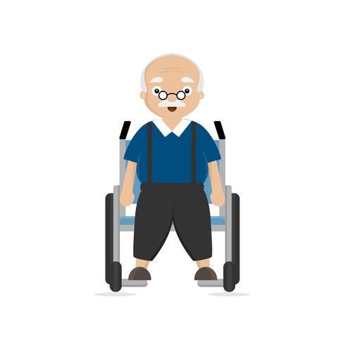 Vecchio disabile in sedia a rotelle vettore