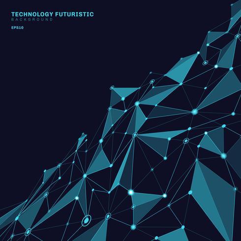Forme poligonali astratte su sfondo prospettiva blu scuro composto da linee e punti sotto forma di concetto di tecnologia di pianeti e costellazioni. Connessione internet digitale vettore