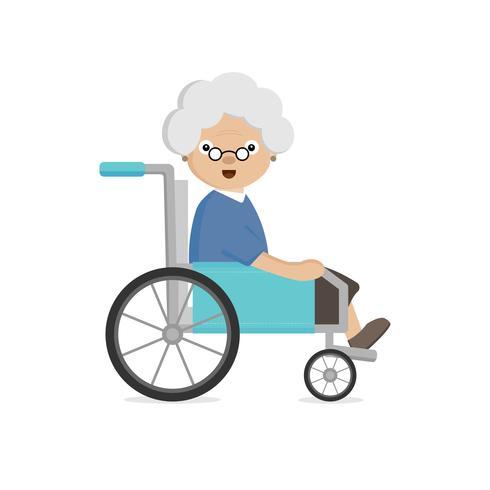 Anziana disabilitata in sedia a rotelle vettore