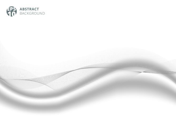 Elemento di linea di colore astratto grigio con sfondo di raso di seta bianca per il design. vettore